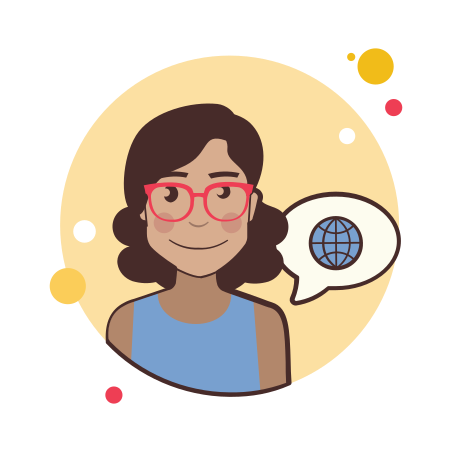 Girl and Globe icon in Circle Bubbles