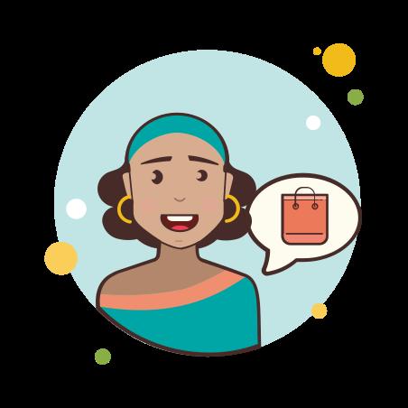女の子とショッピングバッグ icon