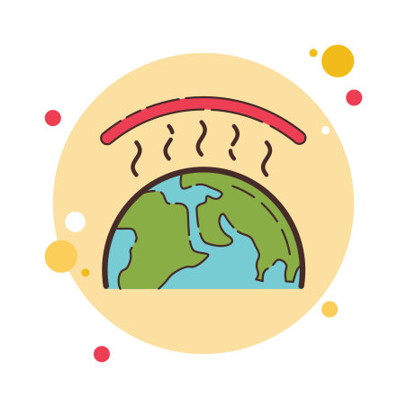 Greenhouse Effect icon in Circle Bubbles