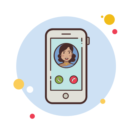 Indian Girl Phone Call icon in Circle Bubbles