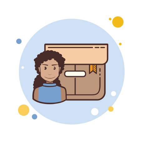 Long Curly Hair Girl Product Box icon