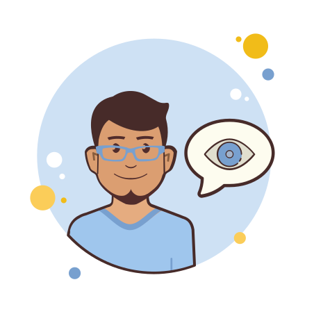 Man in Blue Glasses Eye icon in Circle Bubbles