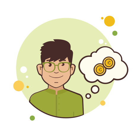 Man in Green Shirt Coins icon in Circle Bubbles