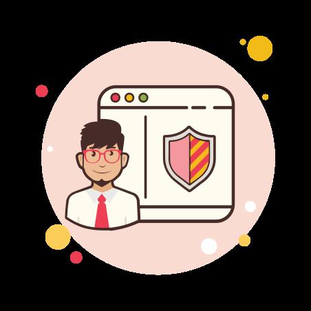 Man Window Security Shield icon
