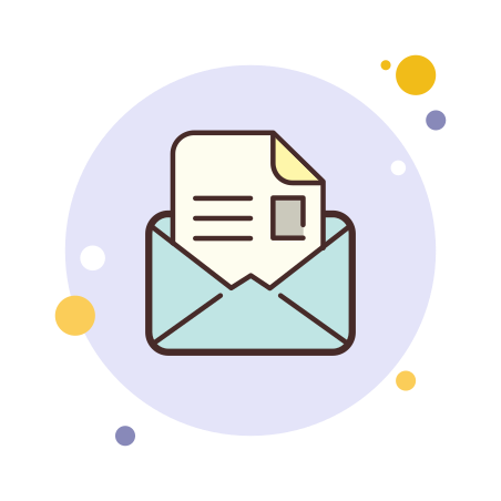 Open Envelope icon in Circle Bubbles