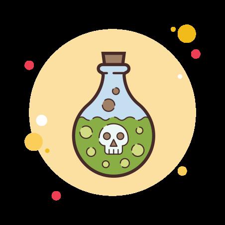 Poison Bottle icon in Circle Bubbles