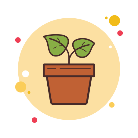 Potted Plant icon in Circle Bubbles