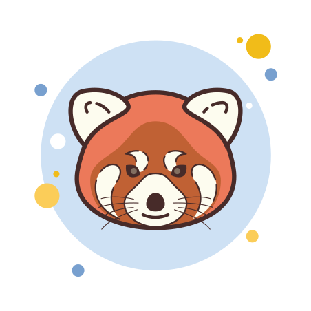 Red Panda icon in Circle Bubbles