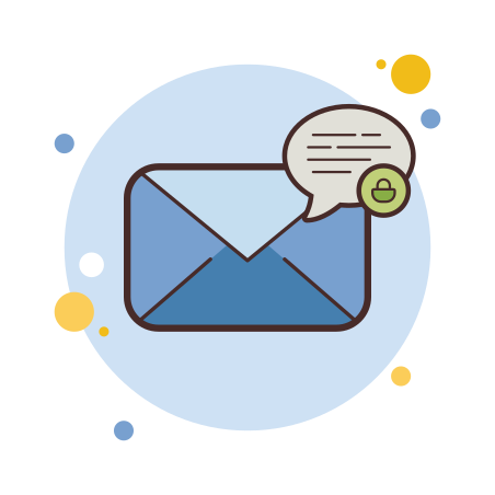 Secured Letter icon in Circle Bubbles