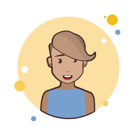 Short Hair Lady in Blue Shirt icon
