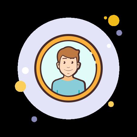 Male User icon in Circle Bubbles