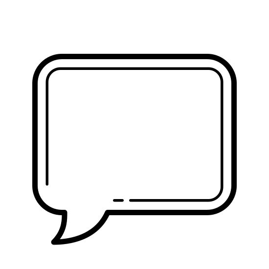 Comments icon. This is a speech bubble in the shape of a rounded rectangle. There is a small curved point sticking out of the bottom of the bubble and coming from the left.