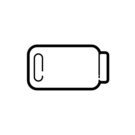 Niski poziom baterii icon. This shape is basically a rectangle with rounded edges. On the right center of the shape, is what looks like the right side of a regular rectangle protruding outwards. On the inside are two vertical lines on the left.