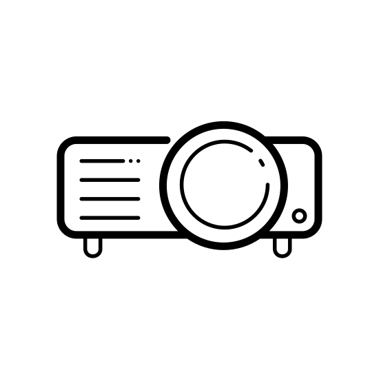 Video Projector icon. It's a simplified version of a video projector. It is composed of a rectangle with rounded corners, comprising the case; two lines at the bottom, comprising rubber feet; and two concentric circles, comprising a projector lens.