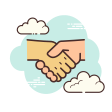 clouds handshake icon