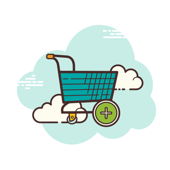 Add Shopping Cart icon. It's a logo of a shopping cart. It is a two wheeled cart with a handle to stand behind and push. In the center of the basket is the plus sign signifying the addition of an item to your cart.