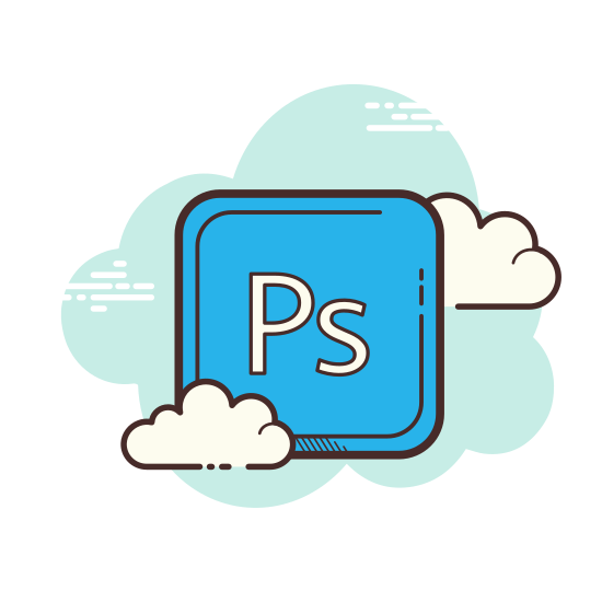 Adobe Photoshop icon. It's a logo for Adobe Photoshop. This logo is placed in a square with 90 degree angles. There is a P with a smaller S next to it so it reads PS.