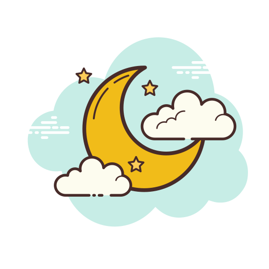 Moon and Stars icon. It's a logo of a fat crescent moon with its upper right missing to make the crescent shape. To its upper left are two stars represented by one slightly bigger and one slightly smaller plus sign.