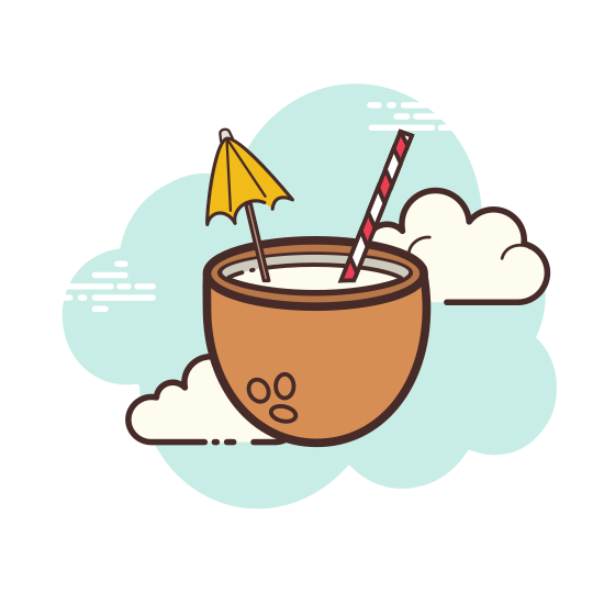Coconut Cocktail icon. This icon depicts a beverage in a glass. The glass is rounded at the bottom with a straw placed in the glass and a piece of fruit wedged on the rim of the glass. The icon is meant to depict a cocktail.