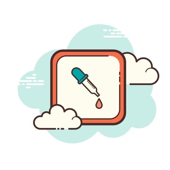 Color Dropper icon. The icon is a simplified depiction of a color dropper. It consists of a pipette with a thin, tapered end, with a small attachment ring, and a rubber ball enabling a user to squeeze in order to pick up, then drop paint or dye.