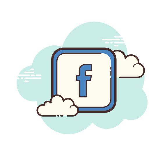 Facebook icon. This is a very well known logo on the Facebook page. It is a small f surrounded in a square with all corners rounded. It is located on the top left corner on the Facebook web page.