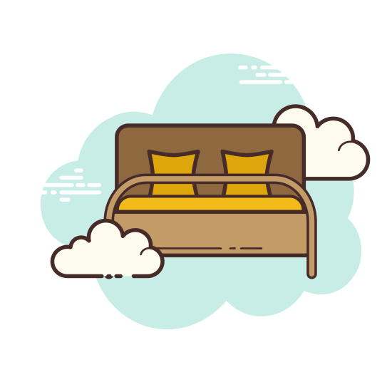 "Hotel Bed icon. In this icon is a person sleeping on a bed with an encircled letter ""i"" above their head. This depicts to the onlooker the possibility of obtaining hotel/sleeping information."