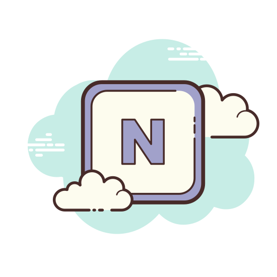 Microsoft OneNote icon. This is a computer icon for Microsoft OneNote showing an open binder with pages of writing on the inside. inside the binder there are also rectangular tabs on the right side of the pages to quickly change to a different part of the binder. On the outside of the binder is a large, bold letter 'N'.
