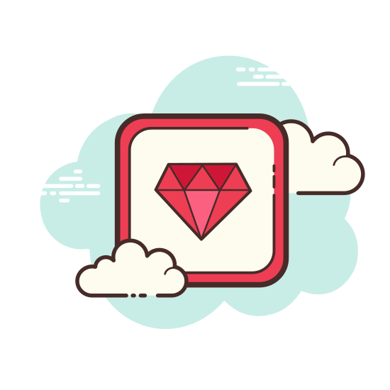 Ruby Programming Language icon. The icon had a octagon shape at the center of it and is surrounded by various triangle shapes both upside down and right side up. Under the triangles at the very bottom are to upside down right angle triangles. Together they all form a gem-like shape.