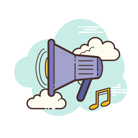 Speaker icon. A speaker icon is represented with a megaphone shaped with a big opening for the sound to come out. The sound waves will be represented with lines that are shown in half circle shapes that are smaller closer to the megaphone and larger as it gets further away.