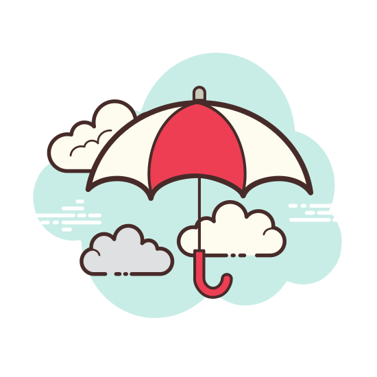 """Umbrella icon. The icon is an umbrella.  The umbrella has three small arches and a handle curved like the letter """"j"""".  There is also a small antenna like spoke on the top."""