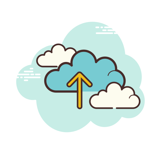 Przesłać do chmury icon. The icon for upload to cloud is a cloud with an arrow pointing up. Since you are loading the images on a cloud service the arrow pointing up represents the images going into the cloud system that keeps the pictures out of your device but still easily accessible.