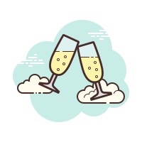 Pair of champagne glasses icon