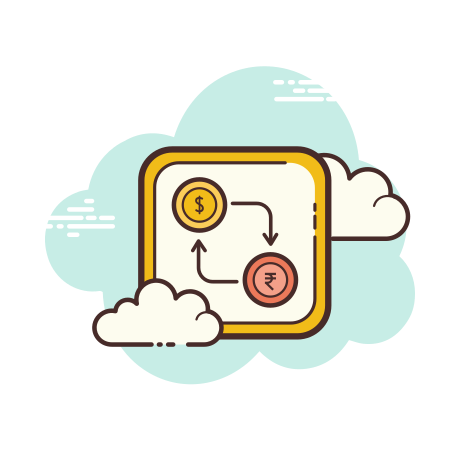 Dollar Rupee Exchange icon in Cloud