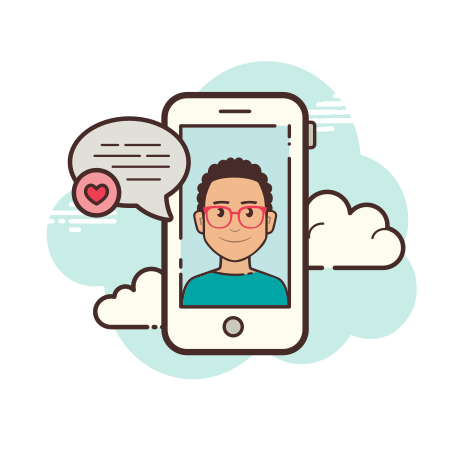 Smartphone Chat Male icon in Cloud