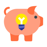 Piggy Bank Light Bulb icon