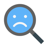 Magnifying Glass With a Sad Face icon