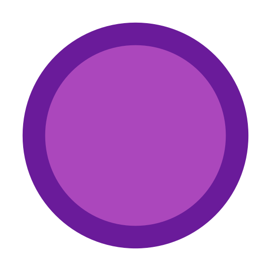 100% icon. This icon is a perfect circle. The circle is filled in evenly with small black dots. The dots are arranged in lines that go diagonally across the circle.