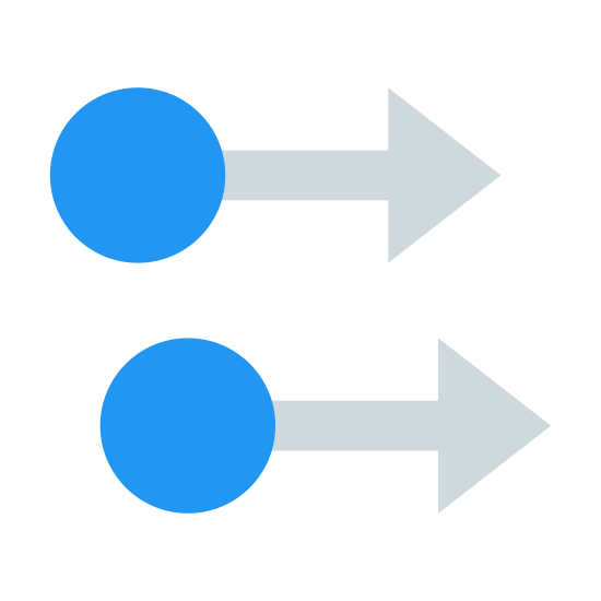 Two Finger Swipe Right icon. There are two circles. The one above is slightly to the left, and the other is under, but not directly. Both have arrows attached to their circles pointing right.