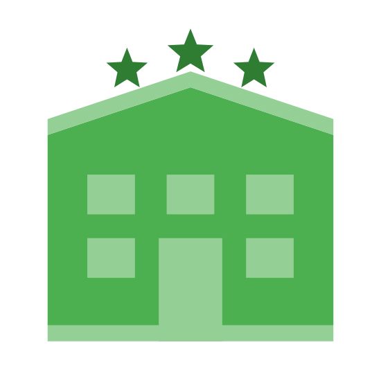 3-gwiazdkowy hotel icon. This is a picture of a hotel with eleven small windows and a door in the bottom center. there are three stars on the very top of the hotel, showing the rating of it.