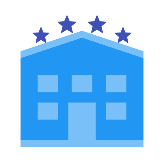 Hotel Building icon. This is a logo for a 4 star hotel. There are 4 star shapes above a square with rounded corners at the top. There is an array composed of rectangles 4 high and 3 wide. Except at the bottom level which has a door replacing the middle window at the bottom level.