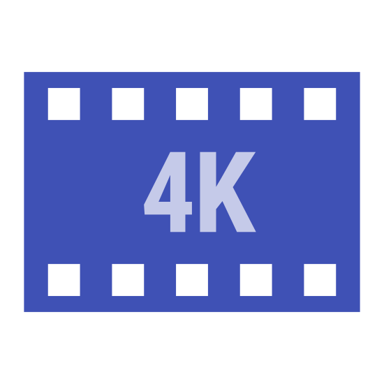 """4k icon. This is a square, with the top and bottom lined with several smaller squares. The characters """"4K"""" are in the middle of the big square. There are eight squares that align both the top and bottom of the big square."""
