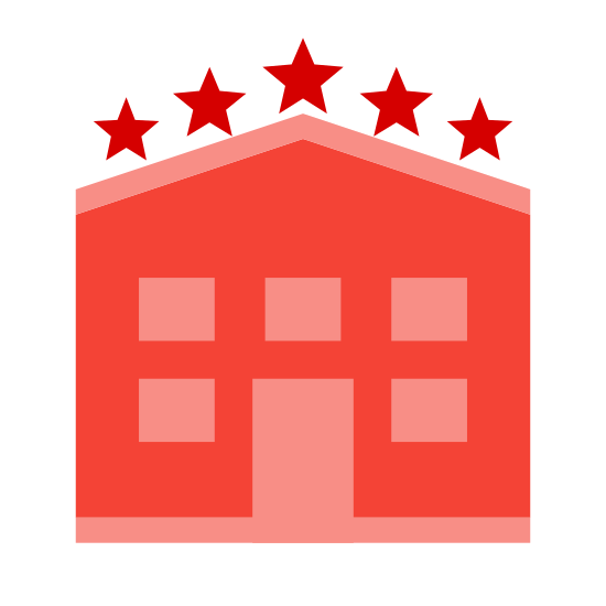 Hotel icon. It's an image of a four story hotel. There is a main entrance with multiple windows on each floor. At the top of this square shaped hotel image is 5 evenly spaced, 5 pointed stars in horizontal line along the top of the hotel building.