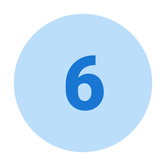 Circled 6  icon. The image is of a single circle with one number inside. The number is 6. The number is not touching the edge of the circle. There are not other numbers are shapes present.