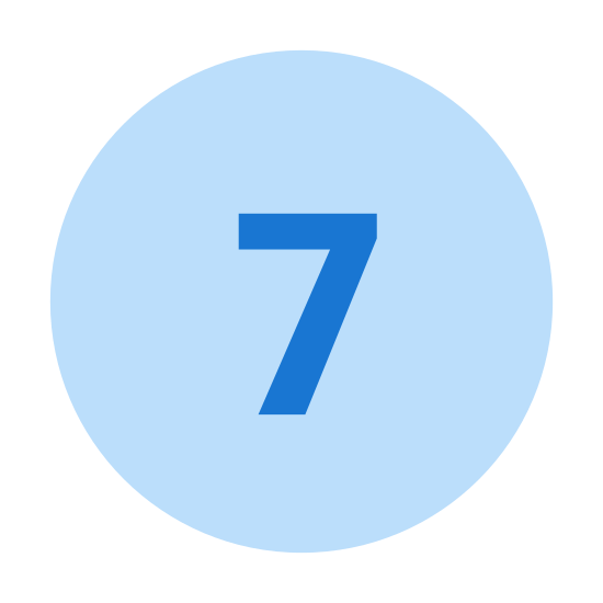 Circled 7  icon. A circle seven is a minimal logo. There is a perfect circle first drawn. Then seven placed inside the circle is about two thirds the diameter of the circle and placed right side up inside the circle.