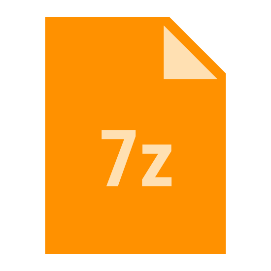 "7 Zip icon. There is a rectangle, that is long vertically. The upper right corner is folded down into a triangle, representing the paper being dog-eared. In the middle of the rectangle is the text, ""7z."""