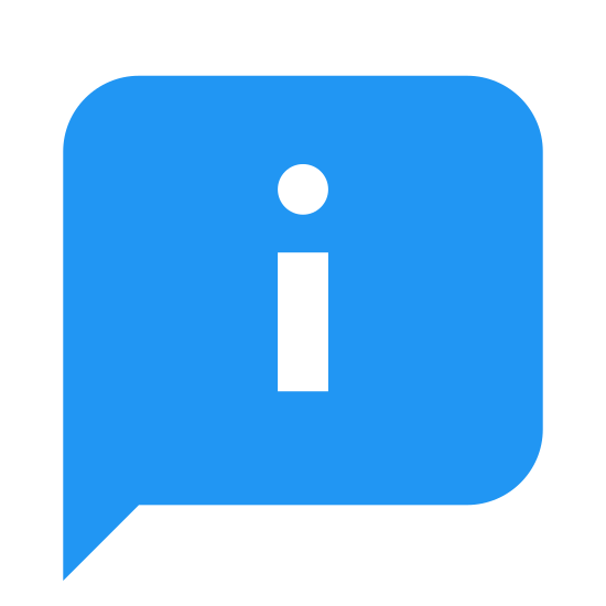 "About icon. It is a speech bubble with the letter ""i"" in the center. The bubble is not an exact circle, but rather a horizontal oval. The letter ""i"" is lower case, and one would think that by seeing this icon you would be informed about a certain topic presented with it."