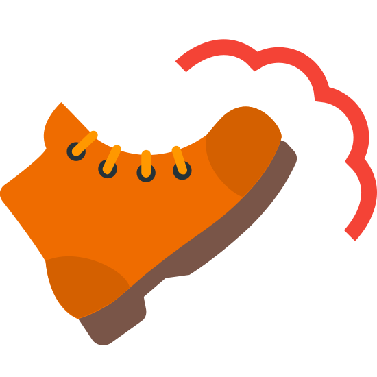 Działanie 2 icon. The icon is a picture of the logo for Action 2. The icon is what appears to be a shoe or a boot. The boot is facing towards the right, with an angle like it just kicked something.