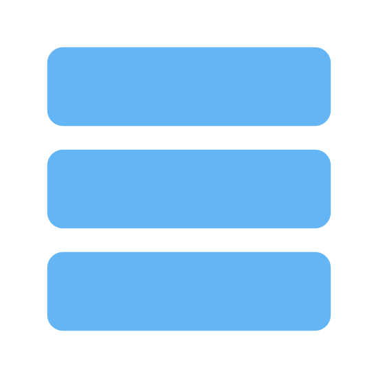 News Feed icon. This image depicts three rectangles. Each rectangle has a much longer width than height, resulting in a very compressed image. The three rectangles are stacked horizontally on top of one another, an equal distance from one another.