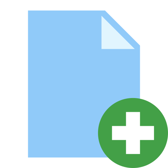 Add File icon. This icon looks like a piece of paper, but the top right corner has a single fold toward the center as if someone has just turned over the edge with their fingers and in the bottom right corner there is a 'plus sign' inside a circle.
