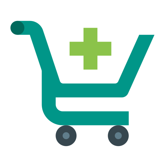 Dodaj koszyk icon. It's a logo of a shopping cart. It is a two wheeled cart with a handle to stand behind and push. In the center of the basket is the plus sign signifying the addition of an item to your cart.